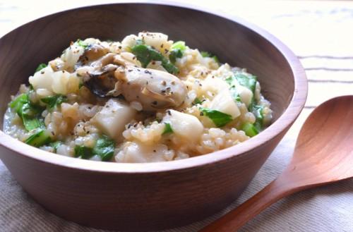 牡蠣とかぶの玄米リゾット2